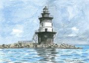 Long Island Painting Framed Prints - Orient Point Lighthouse Framed Print by Dominic White