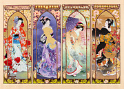 Ladies Photo Framed Prints - Oriental Gate Multi-pic Framed Print by Haruyo Morita