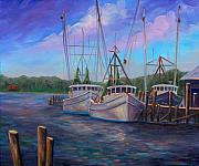 Trawler Paintings - Oriental NC Harbor and Marina by Jeff Pittman
