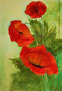 Poppies Artwork Paintings - Oriental Poppies by Julie Lueders