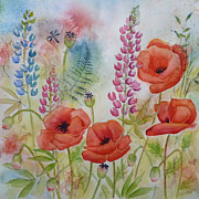 Lupines Paintings - Oriental Poppies Meadow by Carla Parris