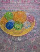 Wooden Bowl Paintings - Oriental Study by Marla Ripperda