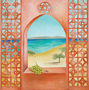 Beach Window Painting Framed Prints - Oriental Window 2 Framed Print by Michal Shimoni