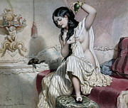 Spaniel Paintings - Oriental Woman at her Toilet by French School