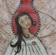 Christian Art . Devotional Art Painting Prints - Orifiel Print by Rain Ririn
