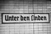 Bahn Prints - original 1930s Unter den Linden Berlin U-bahn underground railway station name plate berlin germany Print by Joe Fox