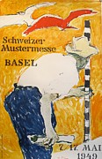 Swiss Drawings - Original 1949 Swiss Trade Fair in Basel Poster by Hans Falk