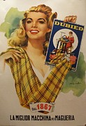 1950s Fashion Originals - Original 1950s Italian Poster for French Knitting Machine Dubied Since 1867 by Anonymous