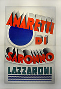 Italian Kitchen Drawings - Original ART DECO Vintage Italian Poster Amaretti di Saronno by Marcello Marchesi