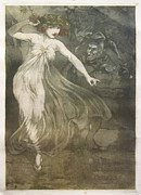 Early Drawings Originals - Original Art Nouveau Poster - Elegant Girl and Imp by Unknown