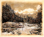 River Scenes Drawings - ORIGINAL Chattooga Boulders by Michael Story