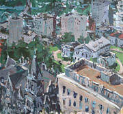 2011 Painting Prints - Original Contemporary Cityscape Painting Featuring Virginia State Capitol Building Print by Robert Joyner