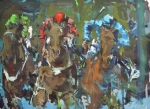 Horse Racing Art Posters - Original contemporary horse racing painting Poster by Robert Joyner