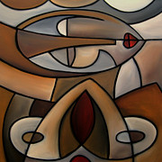 Original Oil Mixed Media - Original Cubist Art Painting - Mama by Tom Fedro - Fidostudio