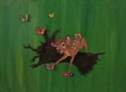 Disney Mixed Media - Original Disney Bambi Canvas by Kaye Johnson