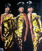 Music Paintings - Original Divas The Supremes by Ronald Young