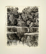 River Scenes Drawings - ORIGINAL Fishing the Saluda by Michael Story