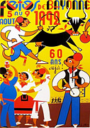 Bulls Drawings Originals - Original French Travel Poster Fetes de Bayonne 1992 by Arnaud Saez