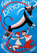 Bulls Drawings Originals - Original French Travel Poster Fetes de Bayonne 2001 by Arnaud Saez