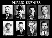 Fbi Posters - Original Gangsters - Public Enemies Poster by Paul Ward
