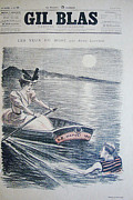 Steinlen Drawings - Original Gil Blas Cover June 1894 At Sea by Theophile Steinlen