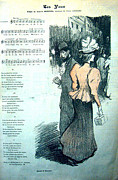 Steinlen Drawings - Original Gil Blas Song Sheet Les Yeux 1890s by Theophile Steinlen