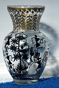 Folk Art Glass Art - Original Glass vase tribal home decor by Subhash Limaye