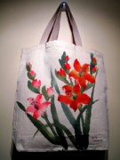 Fabric Mixed Media - Original hand painted tote bag by Anita Lau