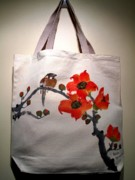 Original Tapestries - Textiles Prints - Original hand-painted totebag Print by Anita Lau