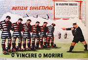 Soccer Drawings Originals - Original Italian 1950s Soccer Poster Vincere o Morire by Anonymous