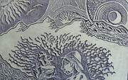 Moon Reliefs - Original Linoleum Block Print by Thor Senior