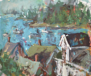 Maine Paintings - Original Modern Abstract Maine Landscape Painting by Robert Joyner