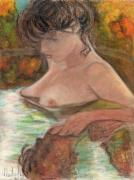 Canada Art Pastels Prints - Original Oil Pastel Beautiful Girl  Print by Natalia Krestianinova