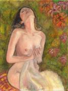 Canada Art Pastels Prints - Original Oil Pastel Nude Woman Print by Natalia Krestianinova