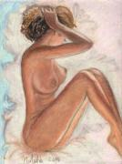Canada Art Pastels Prints - Original Oil Pastel Sexy Woman  Print by Natalia Krestianinova