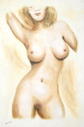 Torso Digital Art Originals - Original Painting of a NUDE FEMALE TORSO by G Linsenmayer