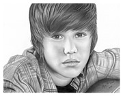 Olga Bell Drawings Originals - Original Pencil Drawing Justin Bieber www.olgabell.ca by Olga Bell