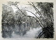 River Scenes Drawings - ORIGINAL Saluda River Hideaway by Michael Story