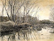 River Scenes Drawings - ORIGINAL Shallow Water Reflections by Michael Story