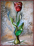 Tulips Drawings - Original Watercolor by Mindy Newman