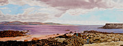 Watercolors Photo Originals - Original Watercolor Painting - Dublin Seascape - 18.5 X 35.75 by Daniel Fishback