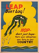 Wwii Propaganda Originals - Original Wwii American War Bonds Poster Leap Dont Lag by Marion Matchitt