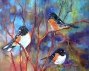 Orioles Prints - Orioles in Dogwood Print by Peggy Wilson