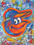 Baseball Portraits Mixed Media Posters - ORIOLES Portrait Poster by Dan Haraga