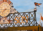  Baseball Art Painting Framed Prints - Orioles Scoreboard at Sunset Framed Print by John Schuller