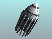 Rocket Boosters Prints - Orion-drive Spacecraft With Solid-fuel Print by Rhys Taylor