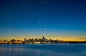 Burrard Inlet Photo Prints - Orion Over Vancouver, Canada Print by David Nunuk