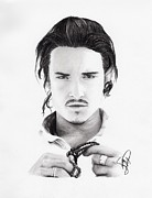 Actors Drawings Originals - Orlando Bloom by Rosalinda Markle