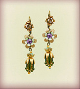 Multicolor Jewelry - Orly Zeelon Dual Floral Earrings With a Hint Of Gold by Orly Zeelon