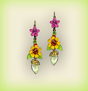 Multicolor Jewelry - Orly Zeelon Jewelry - The floral and leaves earrings by Orly Zeelon